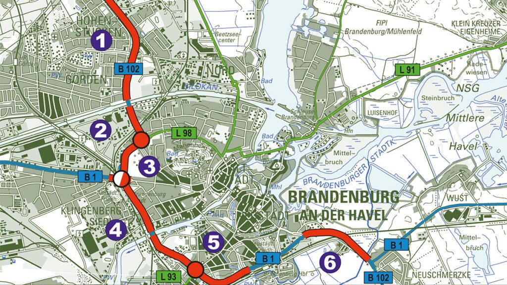 B 1/ B 102 Ausbau der Ortsdurchfahrt Brandenburg an der Havel
